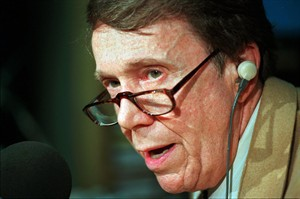 FILE - In this April 29, 1996 file photo, longtime conservative radio host Bob Grant speaks on the air at WOR-AM in New York. Grant died Tuesday, Dec. 31, 2013, at the age of 84, in Hilllsborough, N.J., after a short illness according to New York radio station WABC. (AP Photo/Kathy Willens, File)