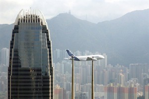 An Airbus A380 flies over Victoria Harbour in Hong Kong Monday Sept 3, 2007. A Toronto grandmother came home from Hong Kong with SARS. A Colorado woman visited a Ugandan cave and brought back to the United States an alarming souvenir — Marburg fever, a cousin of Ebola. And now H5N1 bird flu has jumped the Pacific in the body of an Alberta woman. THE CANADIAN PRESS/AP,Lo Sai Hung
