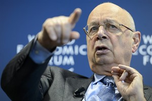 German Klaus Schwab, founder and president of the World Economic Forum, WEF, gestures during a press conference, in Cologny near Geneva, Switzerland, ... - 1389789354_LG106-115_2014_120816_low