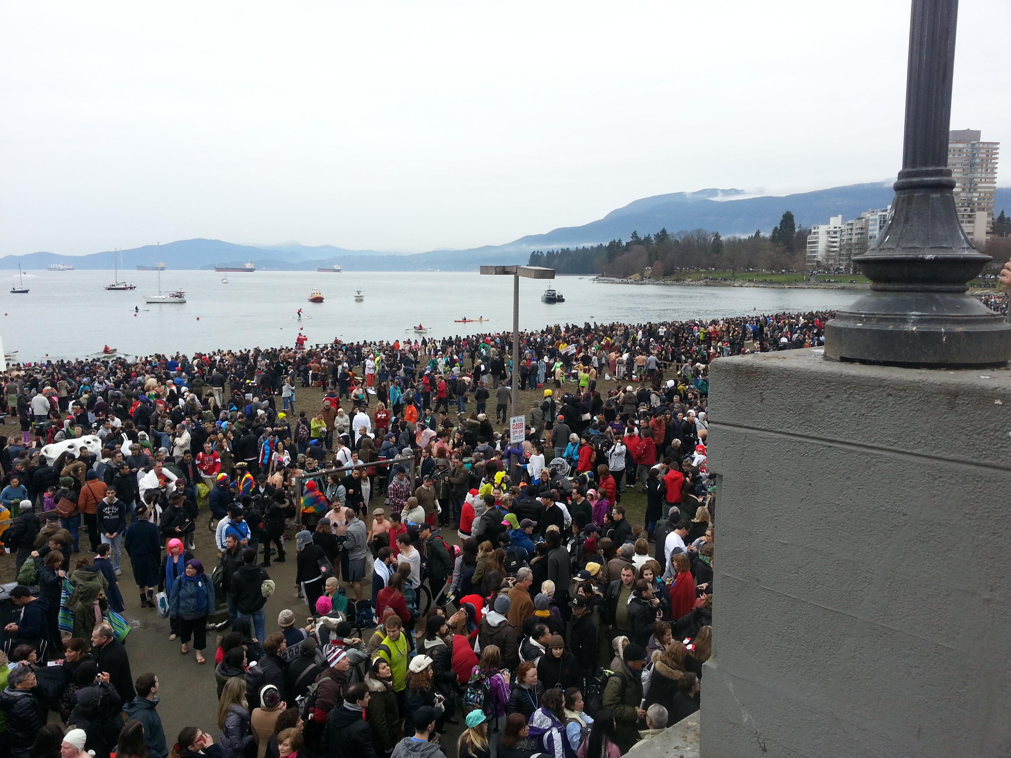 The crowd at English Bay for the 94th annual Polar Bear Swim (Jan 1/14)