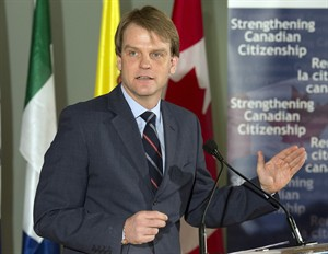Canada's Citizenship and Immigration Minister Chris Alexander speaks after unveiling changes to Canada's Citizenship Act in Toronto on Thursday February 6, 2014. THE CANADIAN PRESS/ Frank Gunn