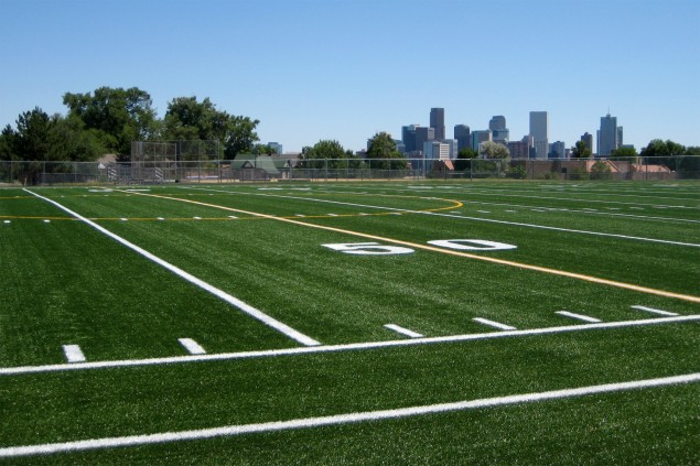 A football field is shown in Denver, Colo., on Aug. 13, 2010. Courtesy of Kari via Flickr