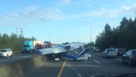 Plane makes emergency landing on Highway 91