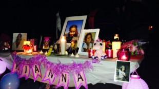 Display table at Kianna Moreau's vigil