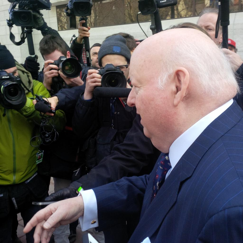Mike Duffy arrives at the courthouse in Ottawa (April 7, 2015)  (Cormac MacSweeney, News1130 Photo)