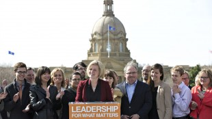 Alberta NDP Leader Rachel Notley holds a press conference while on a campaign stop in Edmonton, Alta, on Monday May 4, 2015. THE CANADIAN PRESS/Jason Franson