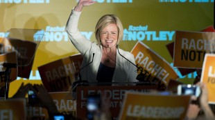 NDP leader Rachel Notley speaks on stage after being named Alberta's new Premier in Edmonton on Tuesday, May 5, 2015. THE CANADIAN PRESS/Nathan Denette