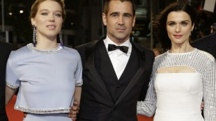 From left, actors Lea Seydoux, Colin Farrell and Rachel Weisz pose for photographers upon arrival for the screening of the film The Lobster at the 68th international film festival, Cannes, southern France, Friday, May 15, 2015. (AP Photo/Lionel Cironneau)