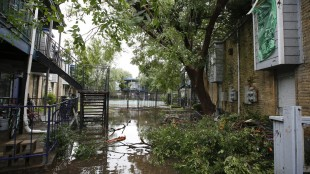 Leaves and branches are scattered throughout a flooded yard after a roof collapsed during a morning storm Sunday, May 24, 2015 in Houston at the Rockport Apartment Homes on S. Gessner. (Eric Kayne/Houston Chronicle via AP)