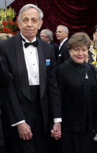 "FILE - In this March 24, 2002 file photo, John Nash, left, and his wife Alicia, arrive at the 74th annual Academy Awards, in Los Angeles. Nash, the Nobel Prize-winning mathematician whose struggle with schizophrenia was chronicled in the 2001 movie ""A Beautiful Mind,"" died in a car crash along with his wife in New Jersey on Saturday, May 23, 2015, police said. (AP Photo/Laura Rauch, File)"