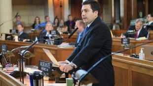 Nebraska state Sen. John Murante of Gretna speaks in Lincoln, Neb., Wednesday, May 27, 2015, during debate on overriding Gov. Pete Ricketts' veto of a death penalty repeal bill, in a vote that would make it the first traditionally conservative state to abolish capital punishment in more than four decades. (AP Photo/Nati Harnik)