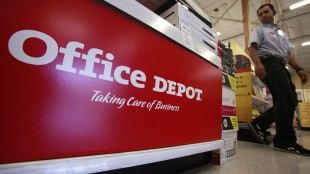 FILE - This July 12, 2010 file photo shows signage at an Office Depot store in Mountain View, Calif. Office Depot is paying $3.4 million to settle charges from regulators that it didn't report defects of two of its office chair models fast enough, even after receiving more than 200 complaints. (AP Photo/Paul Sakuma, File)