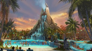 This rendering provided by Universal Orlando Resort shows a mock-up of a water park that the theme park is building in Orlando, Fla. The new Volcano Bay theme park is expected to open in 2017. (Universal Orlando Resort via AP)