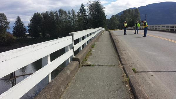 A massive crack across the Dewdney Bridge caused the span to dip (Sept 17/15)