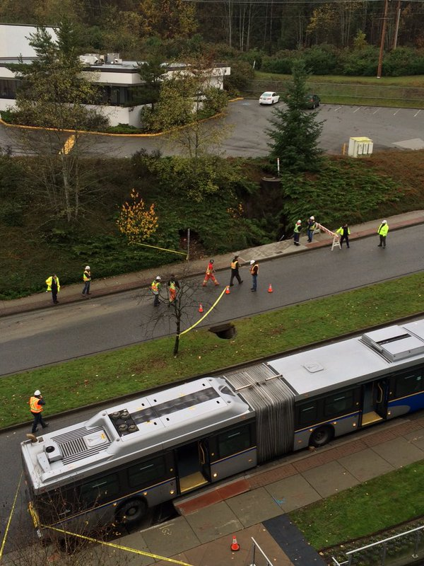 bus sinkhole Production Way Burnaby