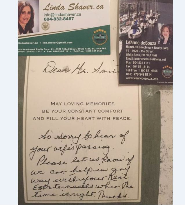BC realtors give widowed dad condolence card -- with offer to sell house