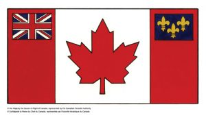 A Red Ensign with the fleur-de-lis and the Union Jack