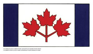 Three red maple leaves between two blue borders