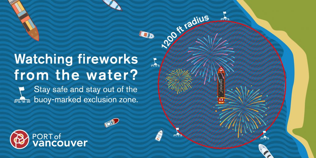 If you're watching the fireworks from the water, be sure to stay well away from the barge!