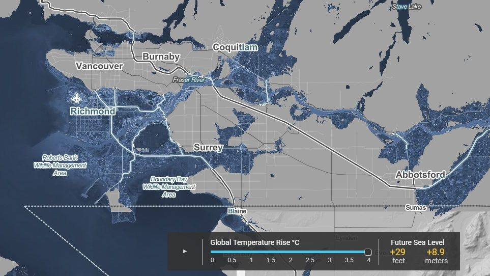 Interactive Metro Vancouver map shows dramatic effects of ... on energy map, geographic information system map, coastal change map, elevation map, game level map, travel risk map, summit map, rehab map, sea fish, sea bass map, traffic map, high altitude map, sea rise map, environment map, baltic sea map, contrast map, sea surface temperature map, new jersey topographic map, deep sea map, contour line map,