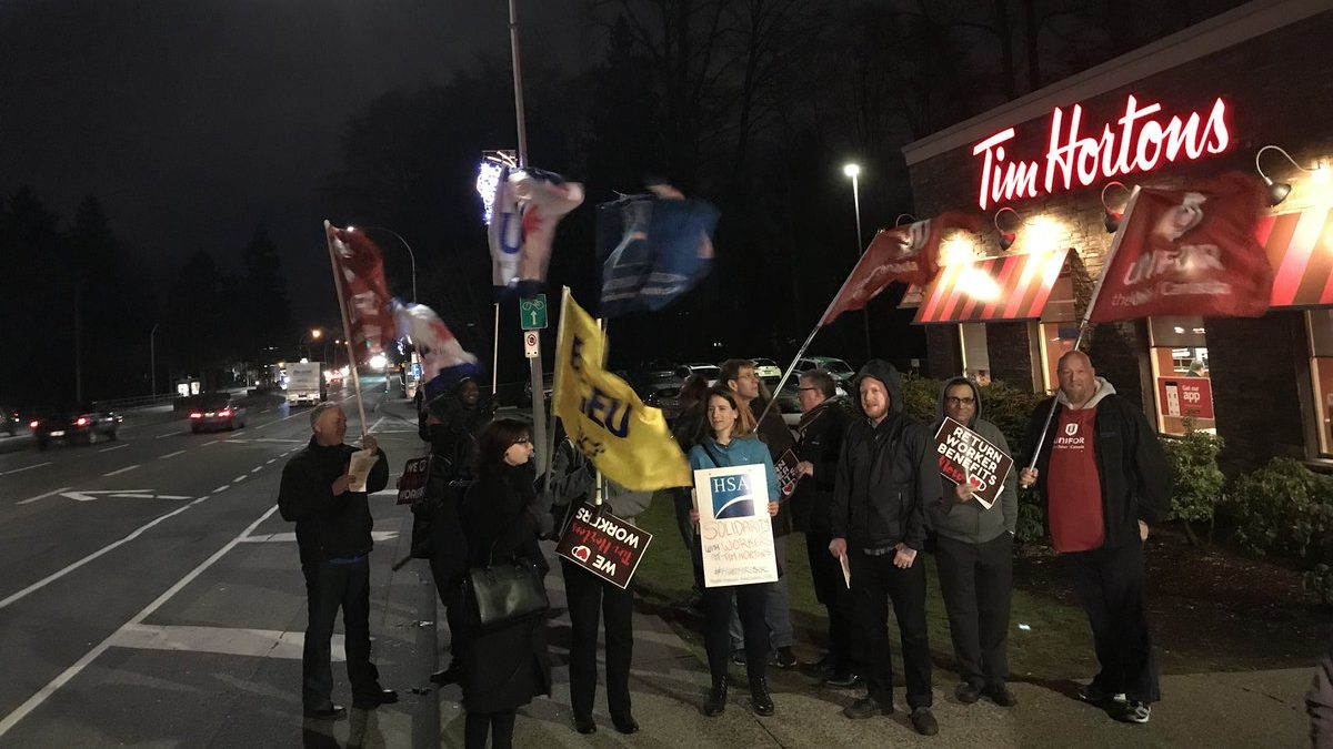 protest by Time Horten's employees