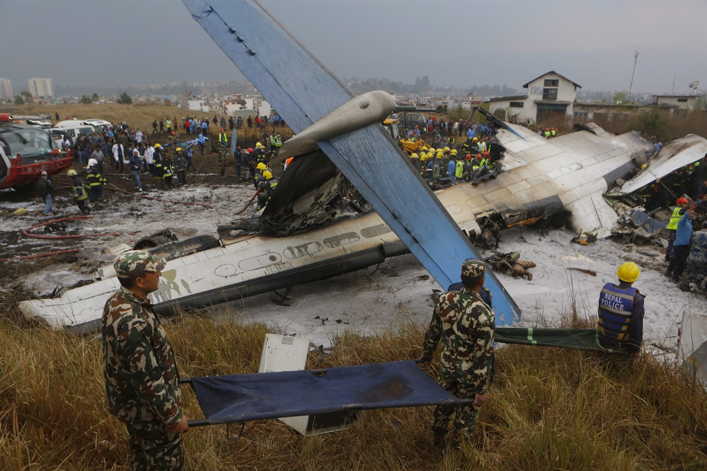 Plane crashes at Kathmandu airport