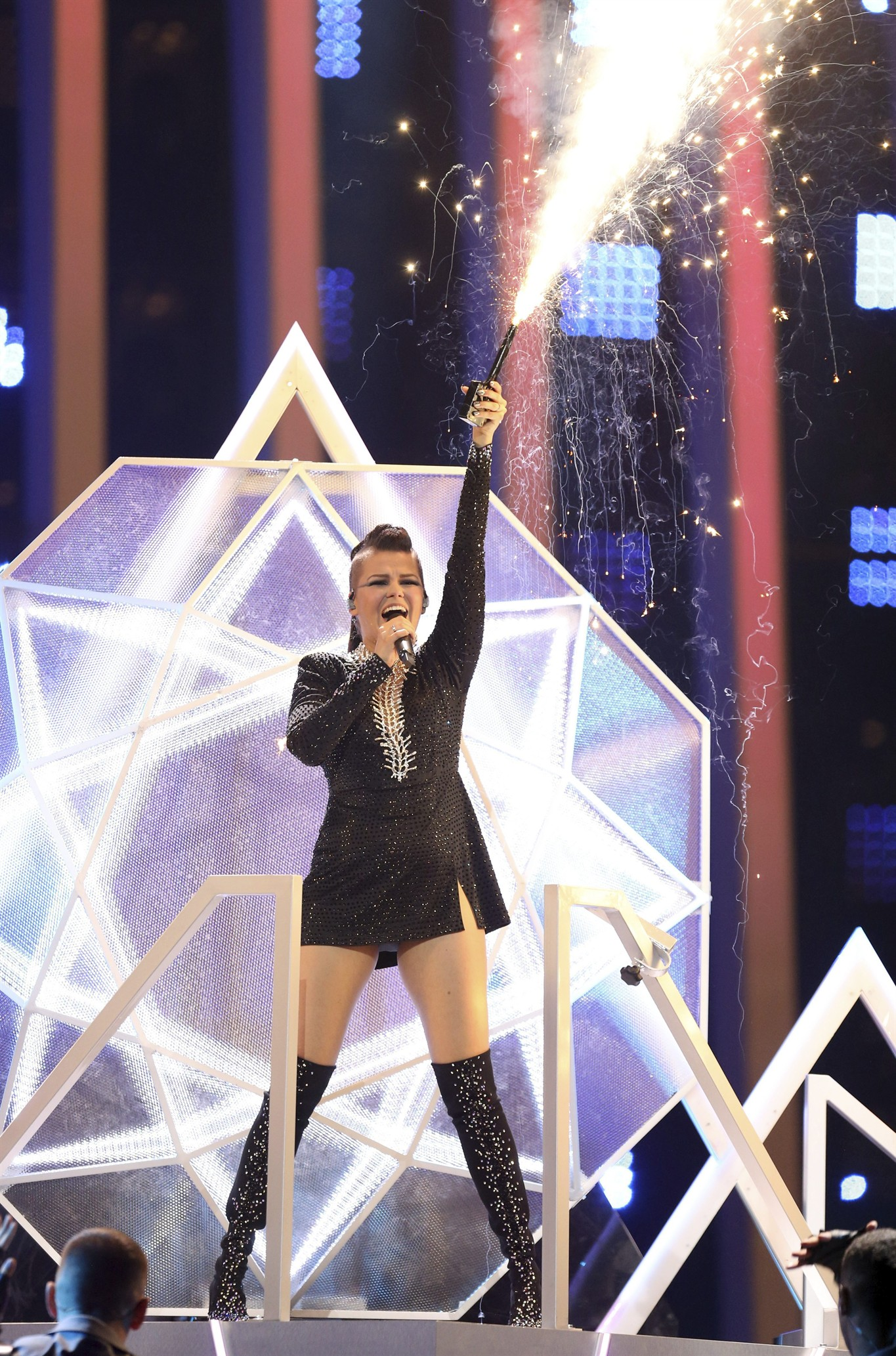 Saara Aalto from Finland performs the song 'Monsters' in Lisbon, Portugal,  Tuesday, May 8, 2018 during the first semi-final for the Eurovision Song  Contest.