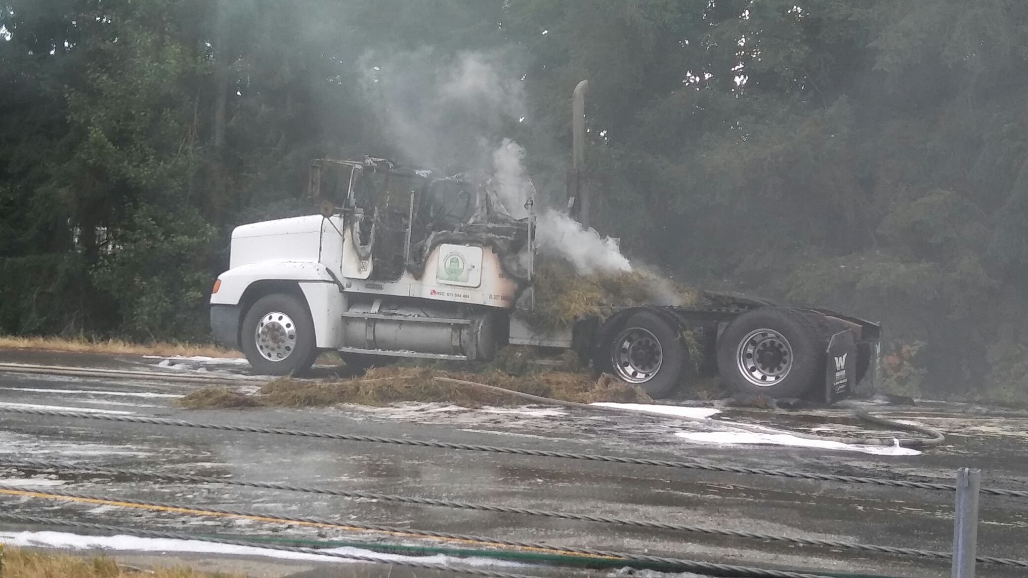 Truck on fire forces closure of Highway 99 southbound