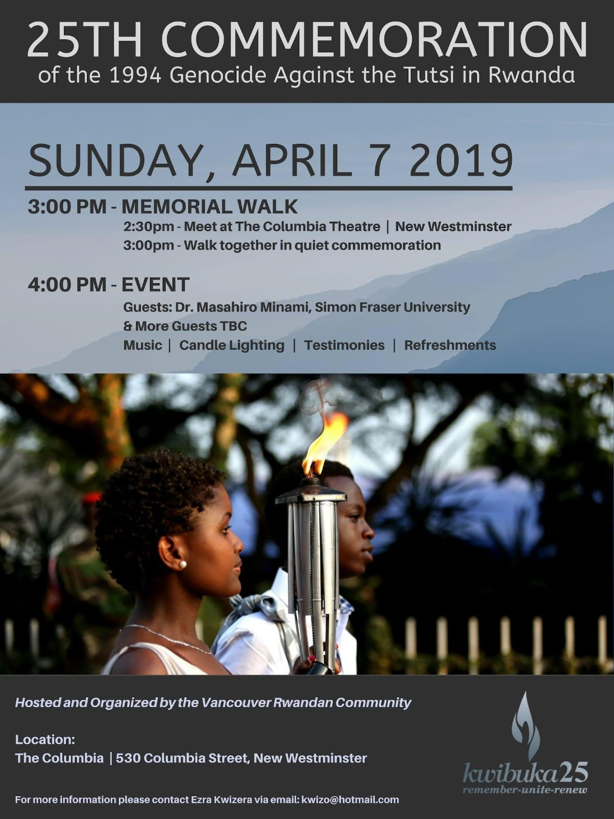 Rwandan expats gather for memorial 25 years after beginning of genocide