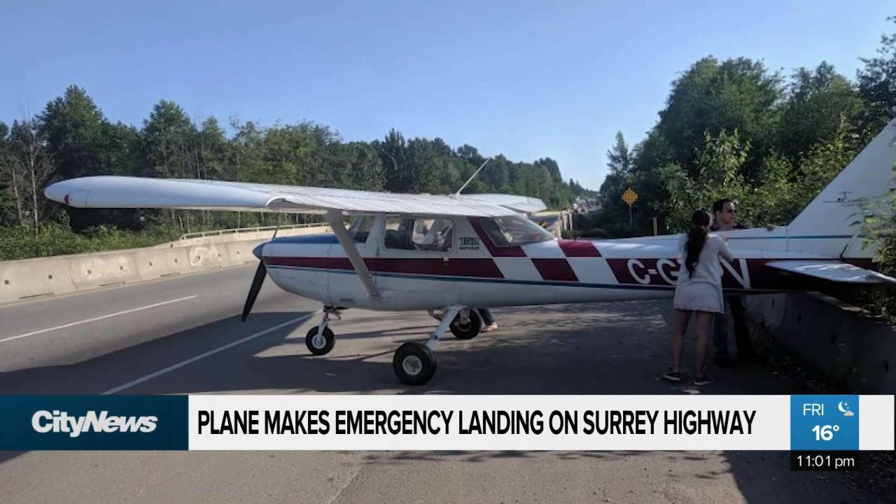 Plane makes emergency landing on Surrey highway
