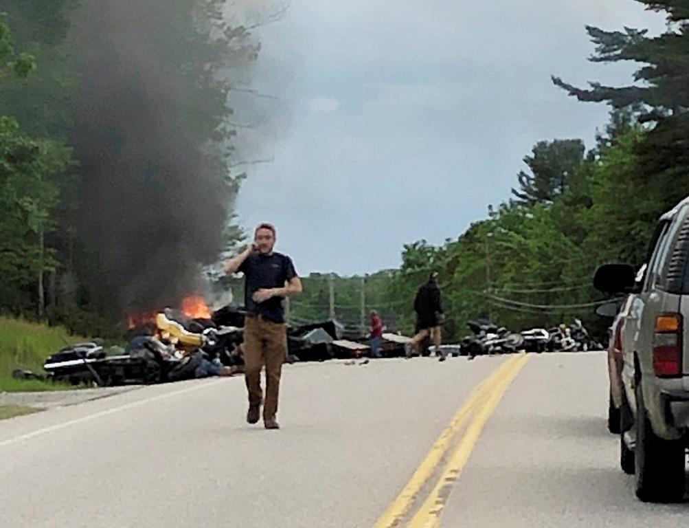 The Latest: Hundreds of bikers gather after deadly NH crash