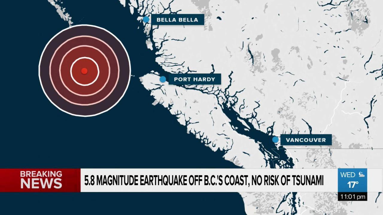 Earthquake strikes off the B C  coast