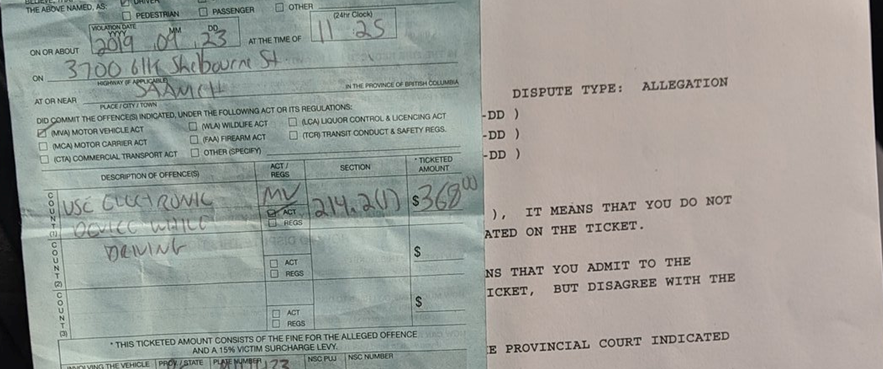 Vancouver lawyer asks for clarity after man ticketed for leaving cell phone in cup holder