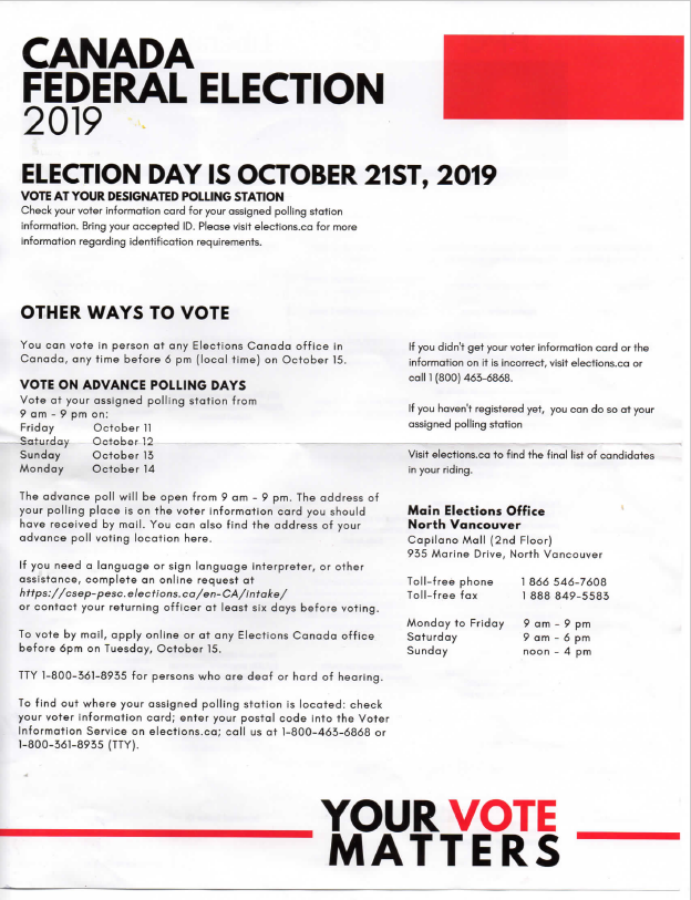 Flyer resembling Elections Canada handout appears to be sent from North Vancouver PPC candidate