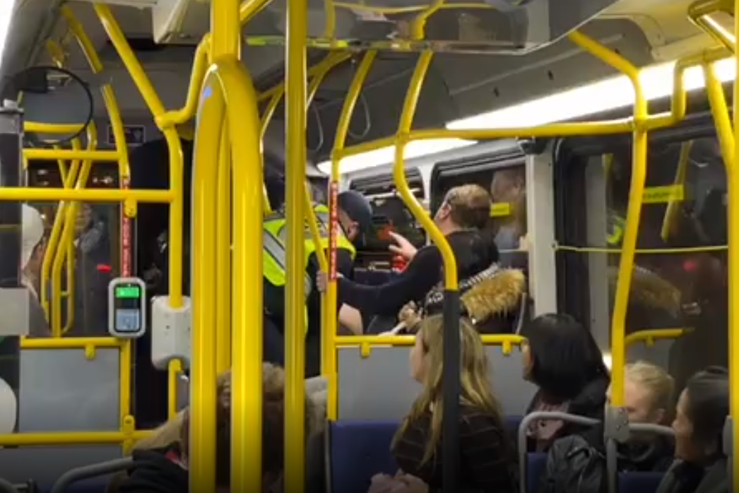 'Get off my weapon': Video captures police struggle with man accused of exposing himself on Vancouver bus