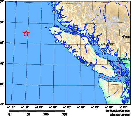 Strong earthquake shakes northeast end of B.C. coast on Christmas Eve