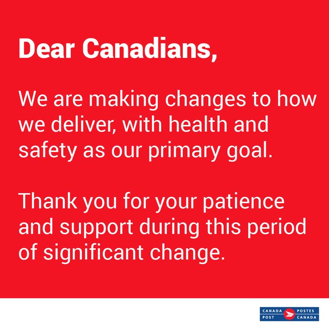 Canada Post Confirms Employee Tested Presumptive Positive for COVID-19 class=