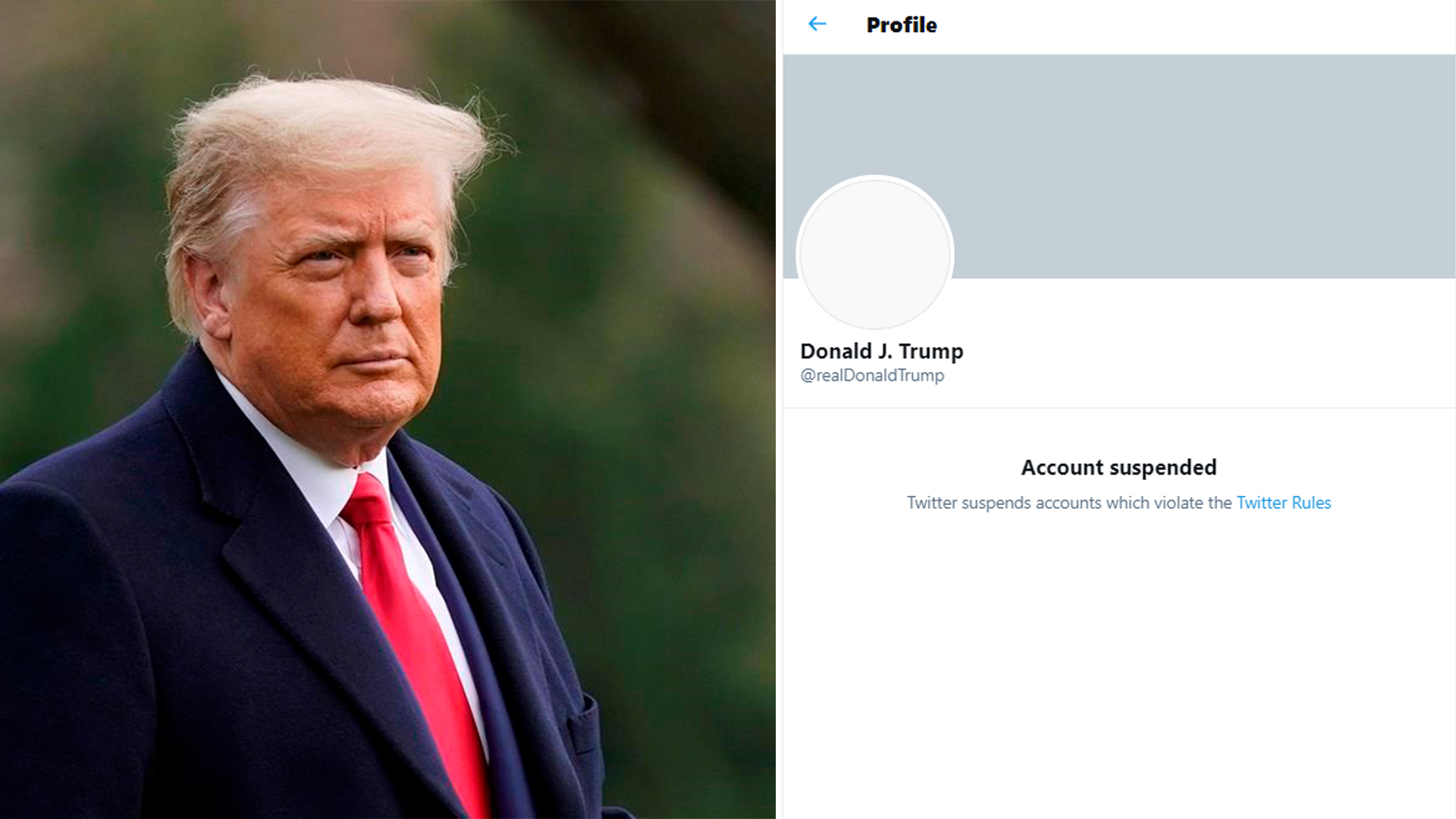 Twitter suspended the account of outgoing U.S. President Donald Trump Jan. 8 2021