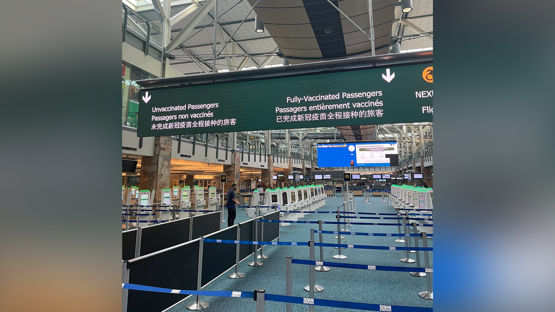 YVR no longer splitting passengers at arrivals terminal by COVID vaccination status