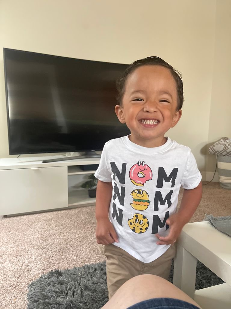 A picture of a smiling toddler